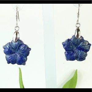 Lapis Lazuli Carved Sterling Silver Earrings